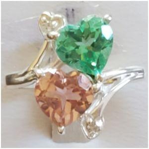 Genuine Green Tournaline/Peach Morganite Ring 7.5